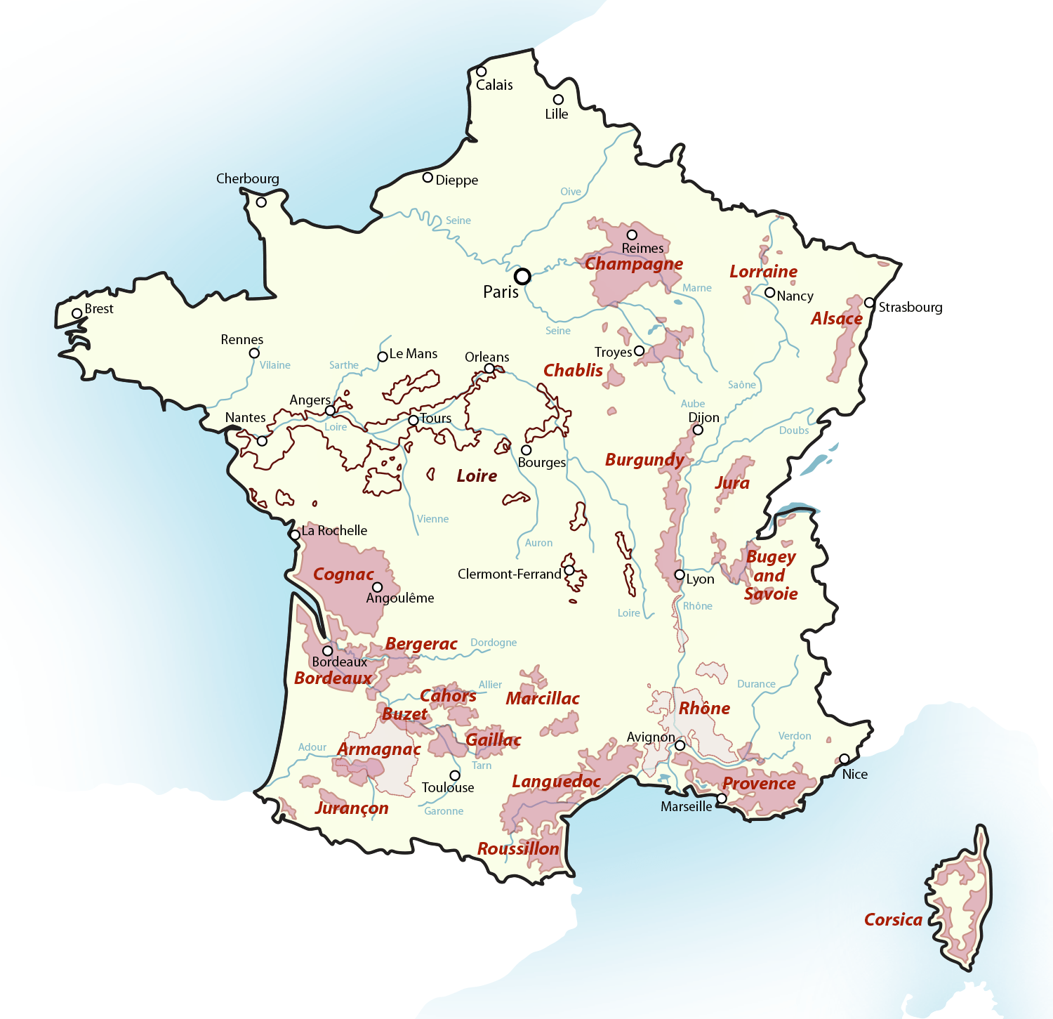 Wine Maps Sample Maps Of France And Germany